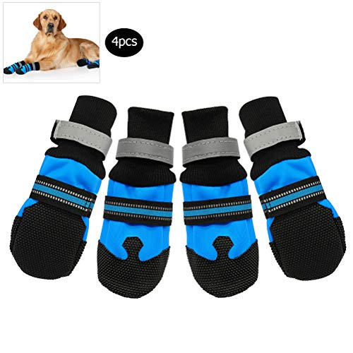 Neborn 4 Piezas Impermeables de Invierno para Mascotas Zapatos para Perros Antideslizantes Botas para Mascotas de Nieve Protector de Pata cálido Reflectante para Perros medianos Grandes