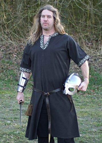 Battle-Merchant Tunique Style médiéval à Manches Courtes, Noire pour GN, Moyen-âge, Viking et Romain