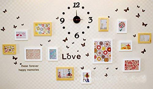 Fotowand, decoratie Schilderij Frame Combinatie, creatieve muur opknoping massief hout frame, 13 Foto Frame + Mute Acryl Klok + Vlinder Muursticker, Nordic Style