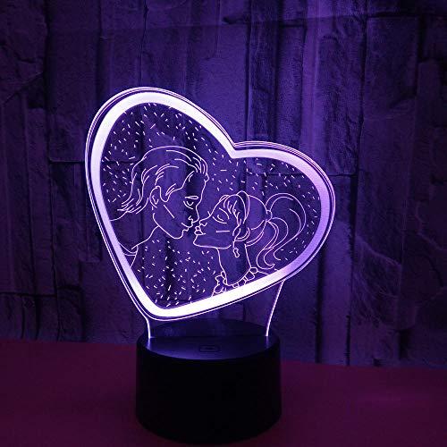 WULDOP Luces De Noche 3D Amor pareja en forma de corazón Lámpara Nocturna Luz De Noche Luz Quitamiedos Infantil Led Para Habitación Infantil Dormitorio Baño Cuna Pasillo