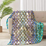 ARNOVIC Dreamlike Mermaid Fish Scale Flannel Throw Soft Blanket for Couch Sofa Home Decor Blankets for Couch, Bed, Sofa Luxurious Warm and Cozy for All Seasons 50x40 Inch for Child