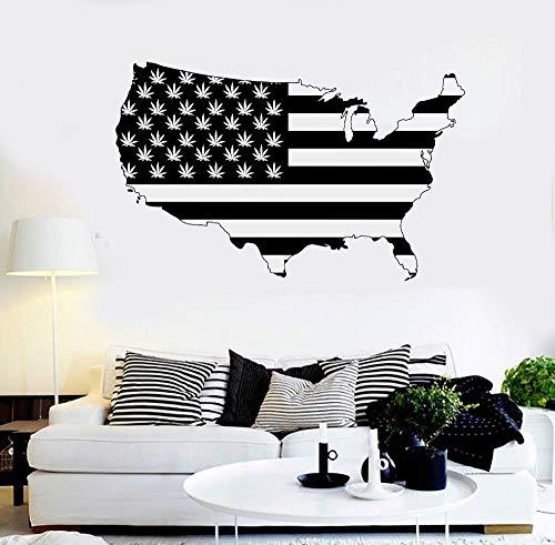 Hetingyue USA kaart rookzones Weed Vinyl muursticker muursticker kunstenaar decoratie design US Map