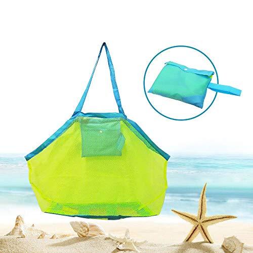 BornFeel grote mesh strandtas voor speelgoed zand weg Tote met rits voor kind zwemmen zwembad reizen zanderige schoenen natte handdoeken 18 x 12 x 18inch groen gaas blauwe bandjes