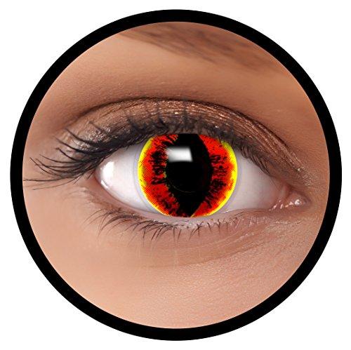 Farbige Kontaktlinsen rot gelb Sauron + Behälter, weich, ohne Stärke in als 2er Pack (1 Paar)- angenehm zu tragen und perfekt für Halloween, Karneval, Fasching oder Fastnacht Kostüm