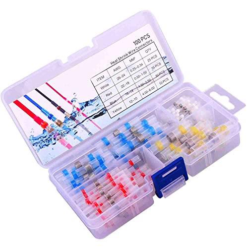 JOYOOO 100pcs Conectores Termocontraíbles Terminales de Cables Impermeable Empalmes Conectores de Cables Electrícos Soldadura(35 Rojo, 30 Azul, 25 Blanco, 10 Amarillo)