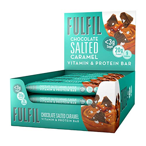 FULFIL Vitamin and Protein Bar (15 x 55g Bars) — Chocolate Salted Caramel Flavour — 20g Protein, 9 Vitamins, Low Sugar