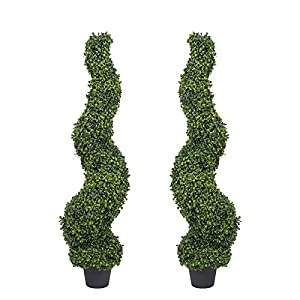 Silk Flower Arrangements THE BLOOM TIMES 4ft Spiral Boxwood Topiary Trees Artificial Outdoor Faux Potted Plants UV Protected Fake Indoor Plants in Pots for Home Office Front Porch Decor Set of 2
