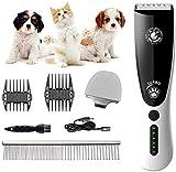 YUMO Perro máquinas de Cortar Pelo LCD, inalámbrica Mascotas Cortapelos para Animales, eléctrico Gato Perro esquiladora recortador Kit con 2 Peine
