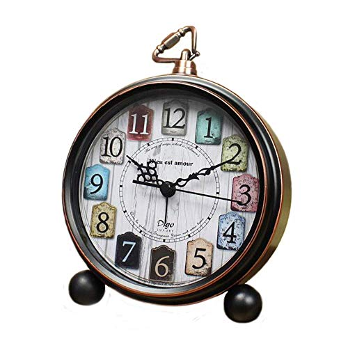 Justup Reloj de Mesa, Estilo Retro Vintage, sin Tic TAC, pequeño Despertador,...