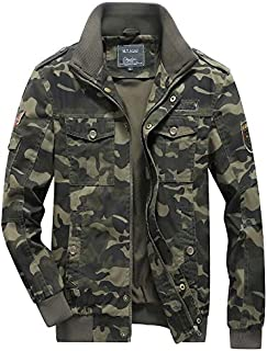 H.T.Niao Imported Jacket for Men Winter Camouflage Military Design Army Style Cotton Casual Slim Fit Stand Collar Coat Latest Fashion (J9941 Green_$P_Army Green)