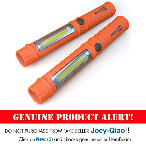 2 x HeroBeam Car Emergency Flashlight - Super Bright LED Flashlight/Worklight with Attachment Magnet - A Glovebox Essential for Auto Emergencies at Night - (TWIN PACK) - 3 YEAR WARRANTY