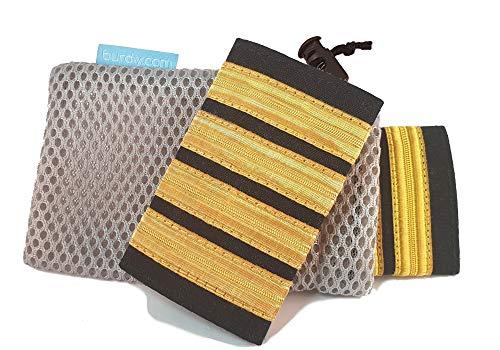 burdiy Kapitän Gold (4 Streifen) - 1 Paar Deluxe Rangabzeichen Pilot mit Klettverschluss - Pilotenstreifen Schulterklappen
