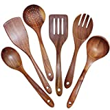 GEEKHOM Wooden Utensils Set of 6, Large Kitchen Cooking Utensil for Non Stick Cookware, Natural Teak...