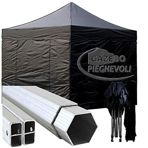 Gazebo Pieghevole 3x3m Alluminio piantone Esagonale Telo Rivestito PVC con Laterali Nero 3x3 chiosco richiudibile Portatile Retrattile Fisarmonica mercati