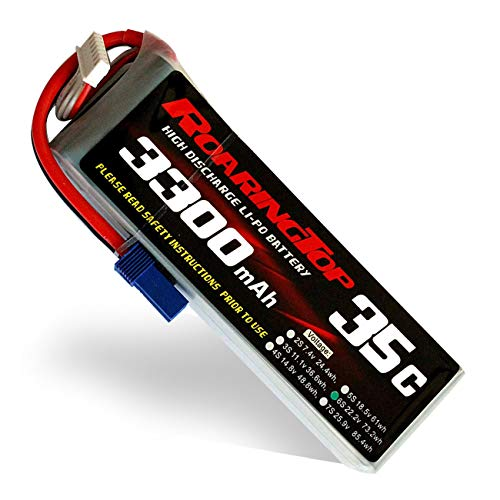 RoaringTop LiPo Battery Pack 35C 3300mAh 6S 22.2V with EC5 Plug for RC Car Boat Truck Heli Airplane