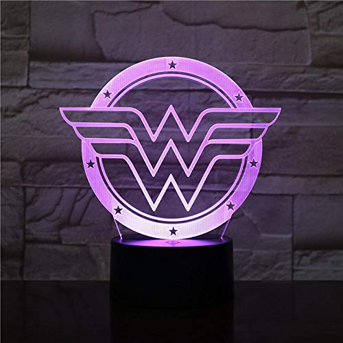 Lámpara De Ilusión Luz De Noche De Superhéroe Wonder Woman Lifting Car Led Colorido Degradado Decoración Light-Base Con Despertador_Wonder Woman Logo 2