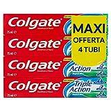 colgate dentifricio triple action, tripla azione per protezione carie, denti bianchi e alito fresco - 4 confezioni da 75 ml