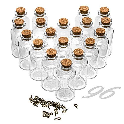 ARTESTAR 96 Mini Botellas de Deseo, Bote de Cristal con Tapón de Corcho, Frasco de Muestra para Mensajes, Decoración de Boda (Pack Grande, 30 x 60mm)