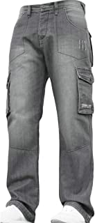 Men's Washed Loose Fit Multi-Pockets Workwear Denim Pants Jeans