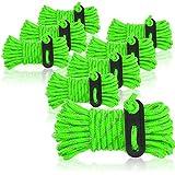 com-four® Cuerda de sujeción 8X para Camping, Reflectante en Verde - Cuerda de Tienda Luminosa - Cuerda de tensión - Cuerda de Camping - Tensor de Cuerda