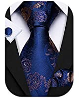 Barry.Wang Navy Blue Flower Ties Formal Handkerchief and Cufflink Hanky Necktie Silk