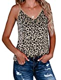 BMJL Women's Leopard Print Top Cute Spaghetti Strap Tank Sleeveless Camisole V Neck Cami Vest (X-Large, Leopard cami 01)