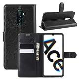 Fertuo Hülle für Realme X2 Pro, Handyhülle Leder Flip Hülle Tasche mit Standfunktion, Kartenfach, Magnetschnalle, Silikon Bumper Schutzhülle Wallet Cover für Realme X2 Pro, Schwarz