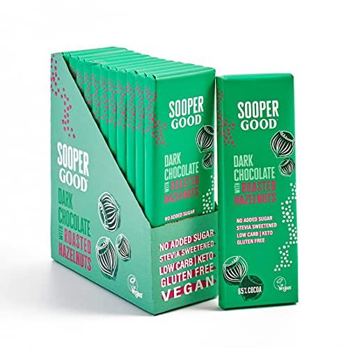 Tablettes de chocolat noir sans sucre et vegan SooperGood - Keto Friendly - Low Carb - Sans gluten - 65% de cacao et noisettes grillées - Édulcoré à la stévia - Boîte de 12 x 40g