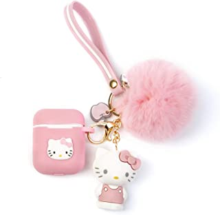 iFiLOVE Compatible with Airpods Case, Cute Cartoon Cat Soft Silione Shockproof Protective with Doll Plush Ball and Wristband Case Cover Skin for Apple Airpods 1 & 2 Charging Case