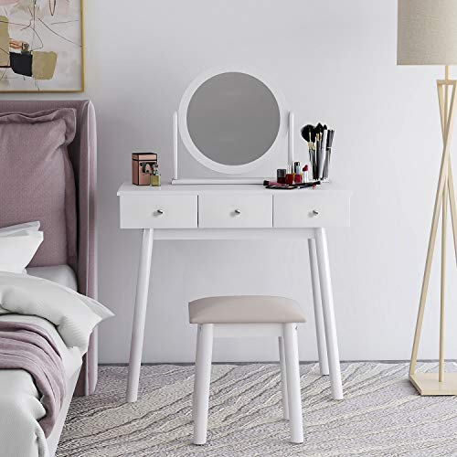 TriverNtrustD Drawer Bedside Cabinet White Dressing Table Set with Mirror and Stool Girls Makeup Desk Dresser with 3 Drawers Bedroom Ship from the UK Fastest Delivery (Color : White)