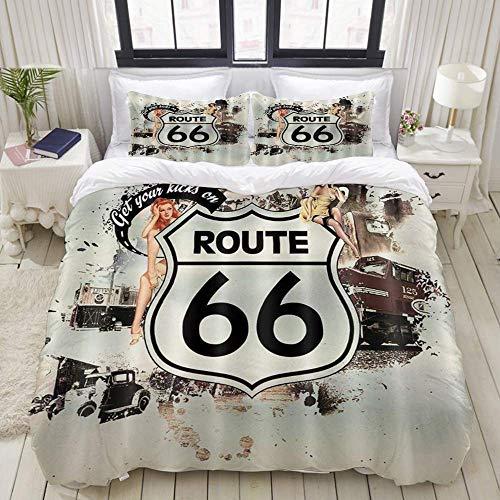 Funda nórdica, cartel de la ruta 66, estilo de póster de película antigua, camiones antiguos...