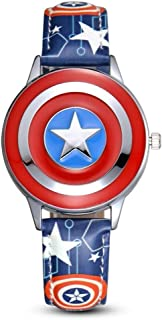 Towel Rings Capitán América Reloj para Niños Anime Cartoon Boy Student Marvel Avengers Flip Reloj De Cuarzo Impermeable