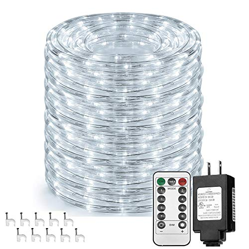 Solhice 66ft 335 LEDs Rope Lights, Waterproof Dimmable Outdoor LED Tube Fairy Light with Remote Control, Daylight White, for Deck, Patio, Wedding, Bedroom Indoor Decor