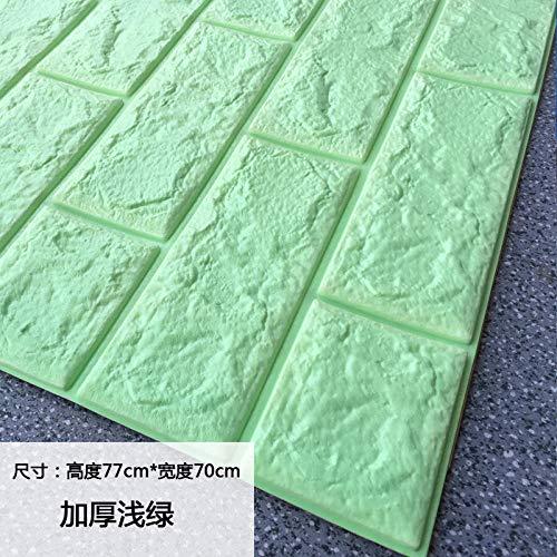 ZH HOME Tapeten Selbstklebend wasserfest Wandtapete Klebefolie 3d sticker selbstklebend wasserdicht, 77x70cm dick hellgrün