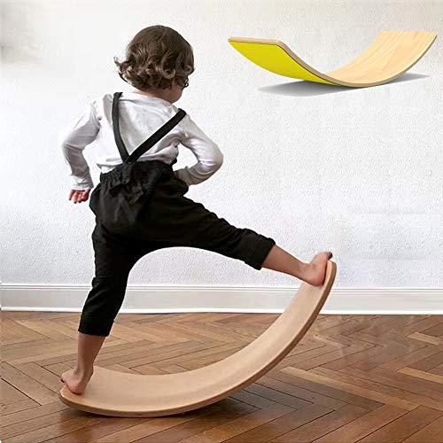 lxfy Holz Balance Board Wobbel für Yoga Curvy Board - Holz Rocker mit Filztuch, Training Balance Toy Indoor Curved Board, Kinder Holz Wippe Sensorik