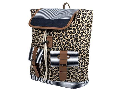 Rucksack Damen Stoff Vintage Stil Retro Freizeitrucksack Stoffrucksack von Alsino, wählen:RUCK-b023 Leopard