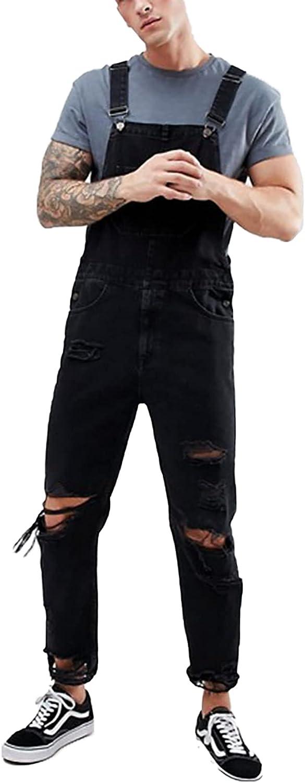 RJFYPX Men's Denim Overalls Black Loose Jumpsuit with Ripped Jumpsuit