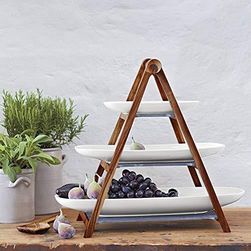 Villeroy & Boch - Alzata Artesano Original, Alzata a Tre Piani in Materiali Naturali con Piatti Estraibili, Lavaggio a Mano, 4 Pezzi