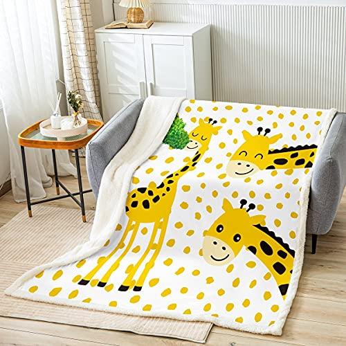 Manta de forro polar de jirafa para niños, adolescentes, niñas, decoración de habitación, diseño de animales de dibujos animados, manta de felpa, color amarillo, blanco, tamaño King (87 x 94 pulgadas)