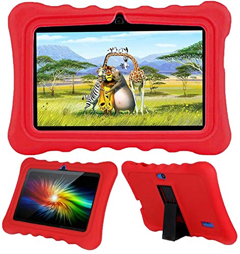AKNICI 7 Inch Kids Tablet Cases Shockproof Silicone Cover for Dragon Touch Y88X Plus Y88X Pro/Haehne/YUNTAB Q88/ZONKO/Tagital T7K/Contixo/iRULU X37/Pritom/Veidoo/LAMZIEN/Dasuy/CARRVAS Kids Tablet, Red