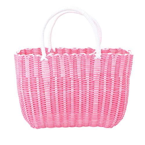 Cabilock Cesta de paja trenzada para mercados, cesta africana, cesta de paja reutilizable, bolsa de la compra, bolsa de viaje, gran capacidad