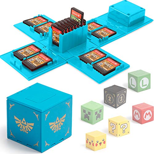 Etui Kompatibel für Nintendo Switch - Passend für bis zu 16 Nintendo Switch Spiele Aufbewahrungssystem Spielkarten Organizer Reisebox Hartschalen Set mit16 Slots Inserts (Zelda Blau)