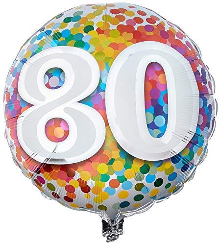 Folat 49559Q Ballon d'anniversaire 80 ans Multicolore