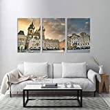 Lienzo impreso de Praga City Architecture Tourism Europe de viaje, varios tamaños, envuelto, sobre marco de madera, arte de pared para sala de estar/dormitorio/oficina