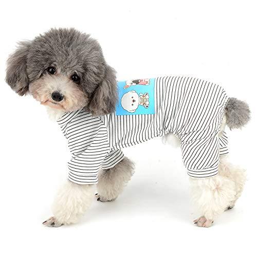 Ranphy Hunde Pyjama Aus Baumwolle Gestreift für Kleine Hunde 4 Beine Welpen Bedruckte Kleidung für Hunde Haustier Overall Cartoon Hoodie Jumpsuit Haustiermantel Hundemantel Schlafanzug