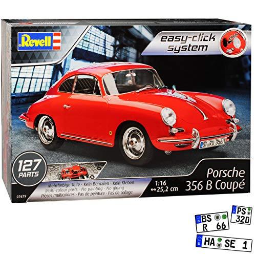 Porsche 356 B Coupe Rot 1959-1963 07679 Bausatz Kit 1/16 1/18 Revell Modell Auto mit individiuellem Wunschkennzeichen