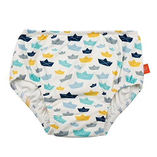 LÄSSIG Baby Schwimmwindel Badewindel wiederverwendbar waschbar Auslaufschutz Junge Mädchen UV-Schutz 50+/Splash & Fun Baby Swim Diaper, Paper Boat, 6 Monate, mehrfarbig