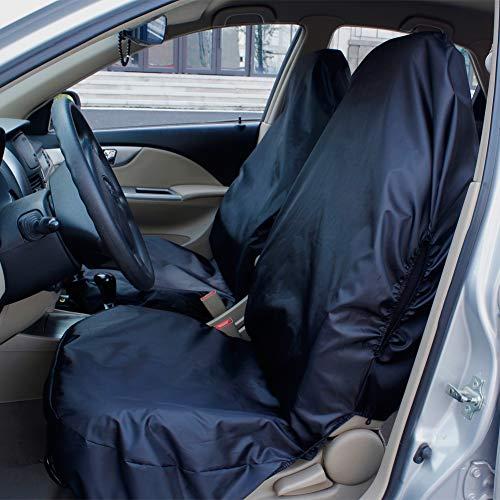 AUTO HIGH wasserdichte Autositzbezüge Set Schwarz, Universal, Hochleistungs-Nylon, Autositzschoner - 2 x Vorderseite