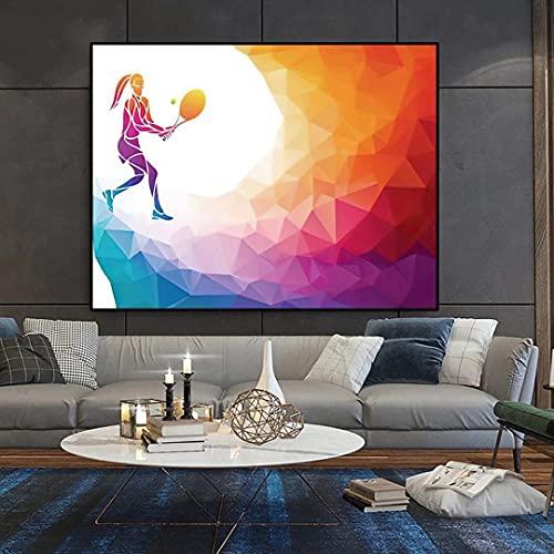 Jugador de tenis femenino raqueta deporte abstracto arco iris poligonal_Lienzo de Bricolaje Regalo de Pintura al óleo para__Adultos niños Pintura por número Kits_para decoración del hogar_
