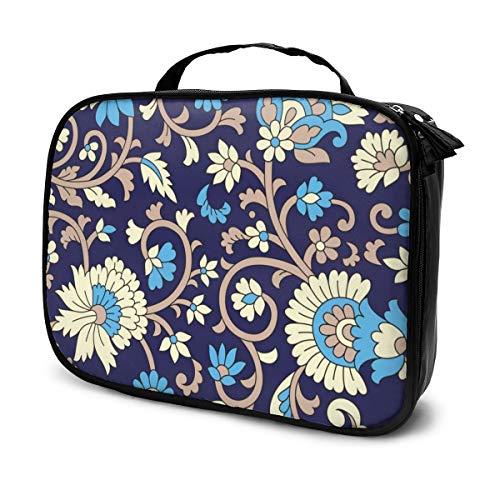 Sacs à cosmétiques pour les femmes voyagent, Étui à crayons à motif Paisley traditionnel sur fond bleu marine